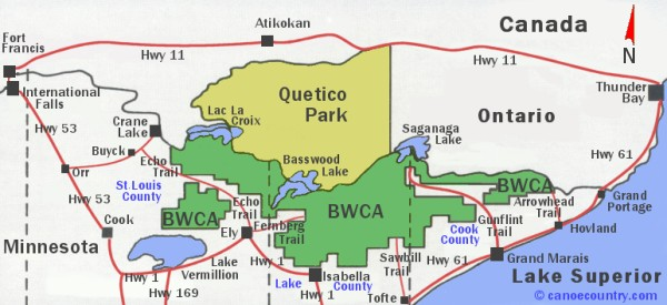 BWCA-Quetico Map provided for general information and location of both areas